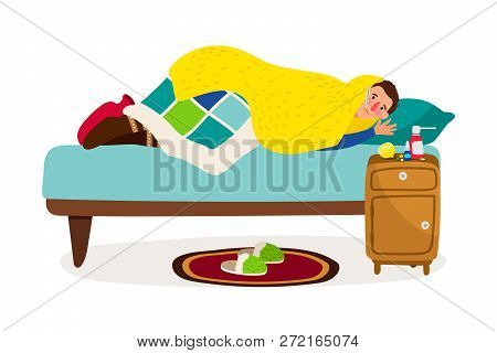 Sick Man In Bed. Vector Cold Fever Ill Character With Sickness Infectious Disease, Flu Person At Hom