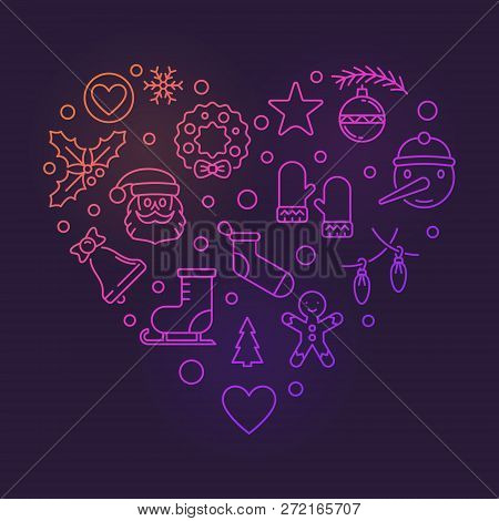 Colorful Heart Of Xmas And New Year Outline Icons. Vector Merry Christmas Bright Illustration In Out