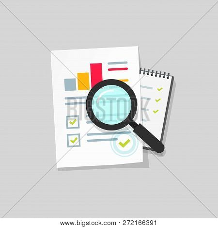 Audit Research Vector Icon, Flat Cartoon Paper Financial Report Data Analysis On Table, Concept Of A