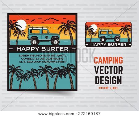 Surf Graphics Poster And Logo. Happy Surfer Sign. Surfing Design For Patch, T-shirt, Prints. Stock V