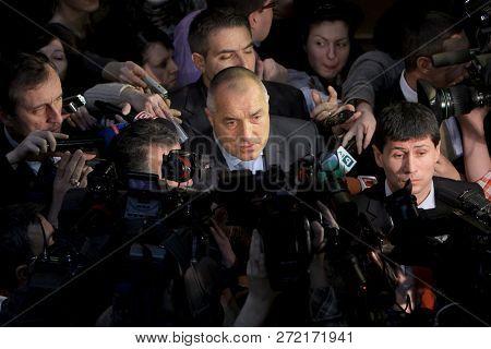 Sofia, Bulgaria - 13 January 2012: Bulgarian Prime Minister Boyko Borisov Speaks In Font Of Journali