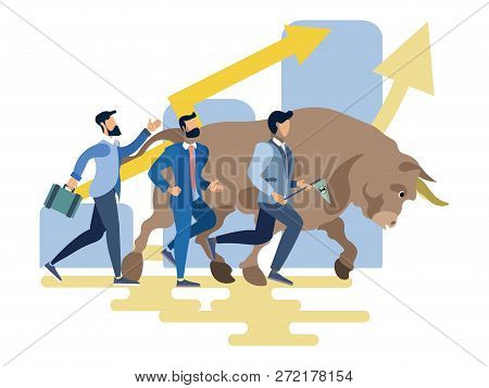 Stock Exchange Worker Businessmen Run With Bull Animal. Business Metaphor In Minimalistic Flat Style
