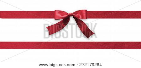 Burgundy Bow Ribbon Band Satin Red Stripe Fabric (isolated On White Background With Clipping Path) F