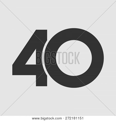 40 Th Years Old Logotype. Isolated Simple Abstract Graphic Symbol Of 40%. Straight Elegant Cut Numbe
