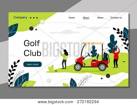Golf Club Landing Page Template, Golfing School Concept With Golf Car, Banner Website - Vector Illus