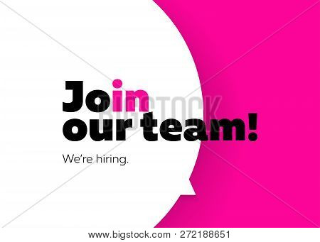 Join Our Team, We Are Hiring Vector Background. Trendy Bold Black Typography. Job Vacancy Card Desig
