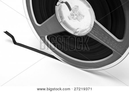 Old film for cinema isolated on a white background