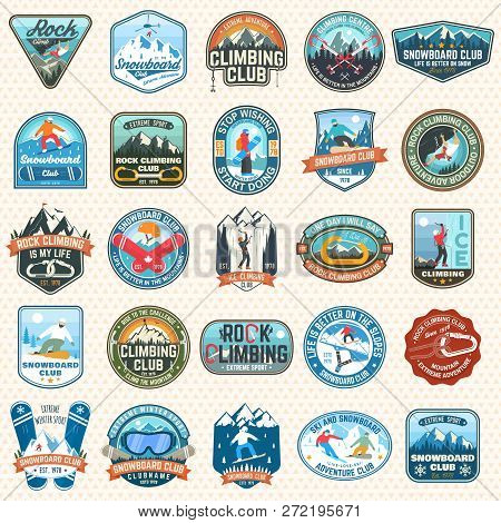 Set Of Snowboarding And Rock Climbing Club Patches. Vector. Concept For Patch, Shirt, Print, Stamp O