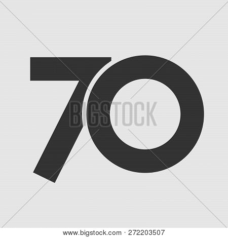 70 Th Years Old Logotype. Isolated Simple Abstract Graphic Symbol Of 70%. Straight Elegant Cut Numbe