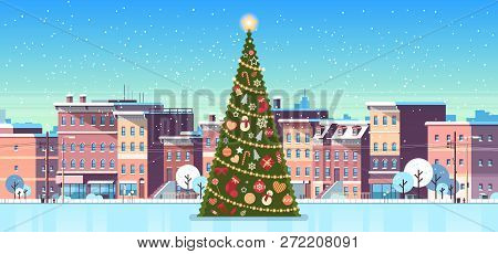 City Building Houses Winter Street With Decorated Pine Tree Merry Christmas Happy New Year Concept F