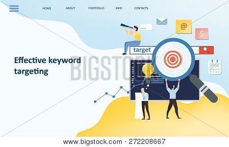 Effective Keyword Targeting Tools. Mockup Landing Page Website Design. Modern Trend Flat Design Conc