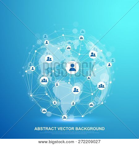 Global Structure Networking And Data Connection Concept. Social Network Communication In The Global