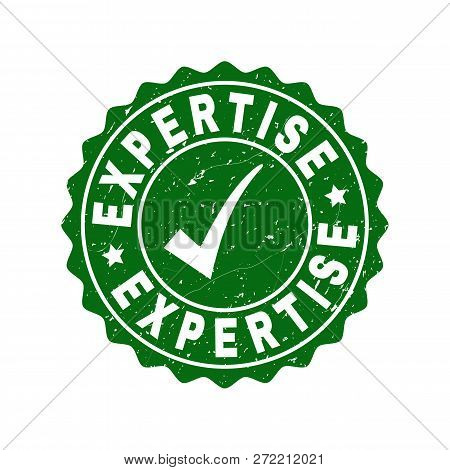 Vector Expertise Grunge Stamp Seal With Tick Inside. Green Expertise Imprint With Grunge Surface. Ro