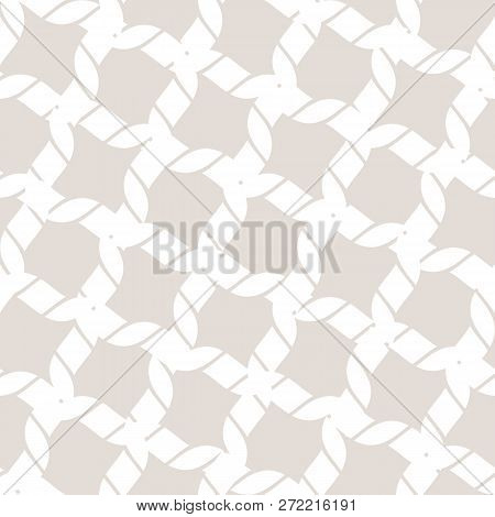 Vector Seamless Pattern With Diagonal Grid, Cross Lines, Ropes. Subtle Abstract White And Beige Geom
