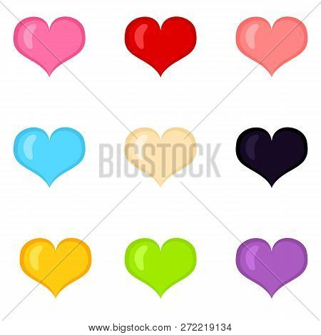 Vector Set Of Colorful Flat Heart Shape Icons