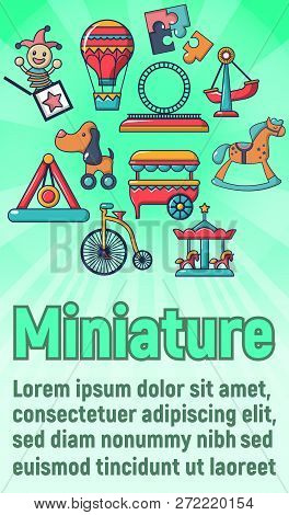 Miniature Concept Banner. Cartoon Banner Of Miniature Vector Concept For Web, Giftcard And Postcard