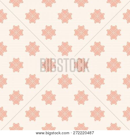 Geometric Floral Seamless Pattern. Subtle Vector Abstract Texture With Curved Shapes, Floral Silhoue