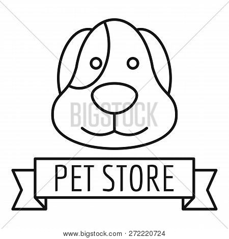 Puppy Dog Store Logo. Outline Puppy Dog Store Vector Logo For Web Design Isolated On White Backgroun