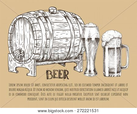 Big Ale Barrel, Full Pilsner Glass And Mug With Foam Vintage Hand Drawn Vector Illustration. Sketch