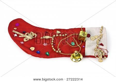 Red Christmas stocking on white background