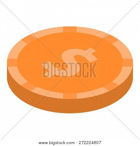 Dollar Coin Icon. Isometric Of Dollar Coin Vector Icon For Web Design Isolated On White Background