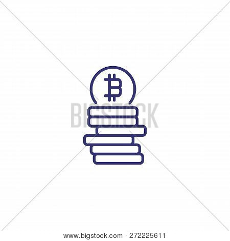 Bitcoins Line Icon. Coins With Bitcoin On Top On White Background. Cryptocurrency Concept. Vector Il