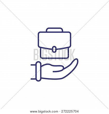 Business Insurance Line Icon. Hand With Business Portfolio On White Background. Finance Concept. Vec