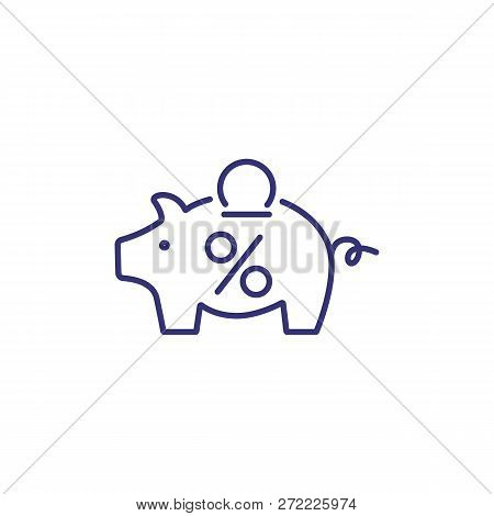 Coin Box Line Icon. Piggy Bank With Coin And Percent Mark On White Background. Money Saving Concept.
