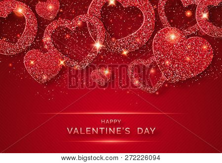 Valentines Day Horizontal Background With Shining Red Heart And Confetti. Holiday Card Illustration