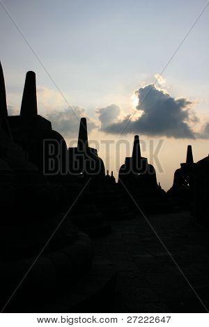 silhouette Borobudur temple