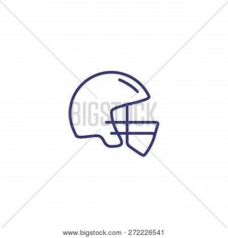 Helmet Line Icon. Headpiece On White Background. Sport Concept. Vector Illustration Can Be Used For