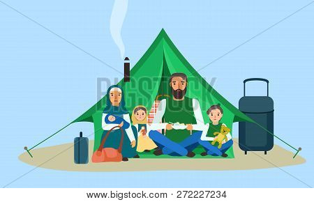 Homeless Family In Tent Concept Banner. Flat Illustration Of Homeless Family In Tent Vector Concept