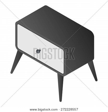 Bedside Furniture Icon. Isometric Of Bedside Furniture Vector Icon For Web Design Isolated On White