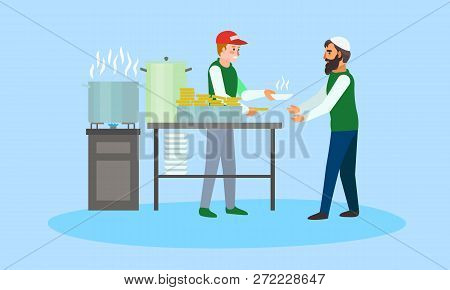 Volunteer Food For Migrant Concept Banner. Flat Illustration Of Volunteer Food For Migrant Vector Co