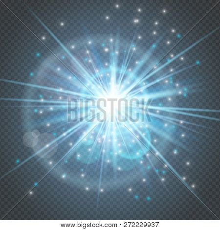 Sparks Glowing Glitter Isolated, Star Burst Glow With Lens Flare On Transparent Background.light Eff