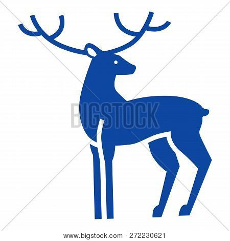 Blue Xmas Deer Icon. Simple Illustration Of Blue Xmas Deer Vector Icon For Web Design Isolated On Wh