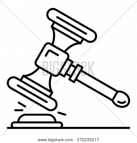 Wood Gavel Icon. Outline Wood Gavel Vector Icon For Web Design Isolated On White Background