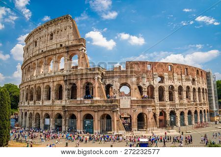 Colosseum With Clear Blue Sky At Midday, Rome.