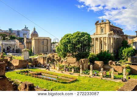 Ancient Roman Forum At Midday, Rome, Italy.
