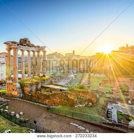 Ancient Roman Forum At Sunrise, Rome, Italy.