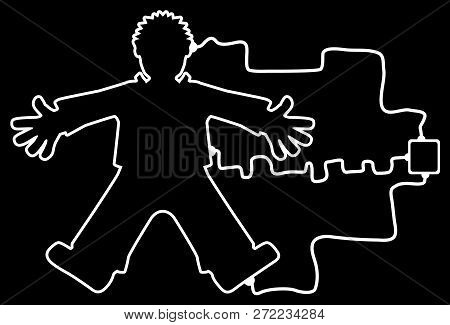 Body Outline Connected To Unknown Device, White Lines On Black, Vector Illustration, Horizontal