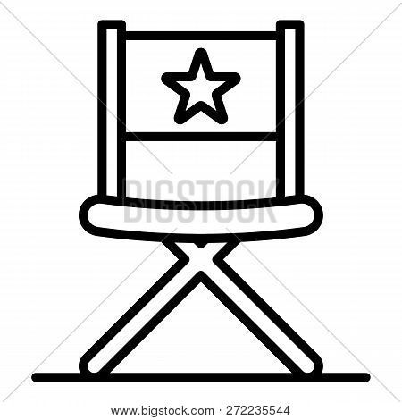 Vblog Director Chair Icon. Outline Vblog Director Chair Vector Icon For Web Design Isolated On White