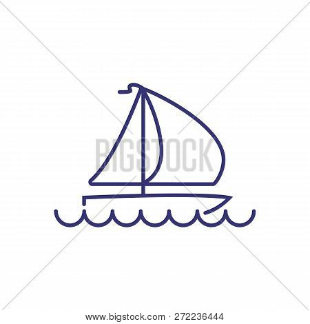 Yacht Line Icon. Yachting Boat On White Background. Sport Concept. Vector Illustration Can Be Used F
