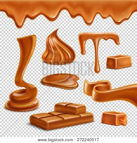Caramel Toffee Melted Border Drops Puddles Spiral Figures Candies Bar Sweets Realistic Set Transpare