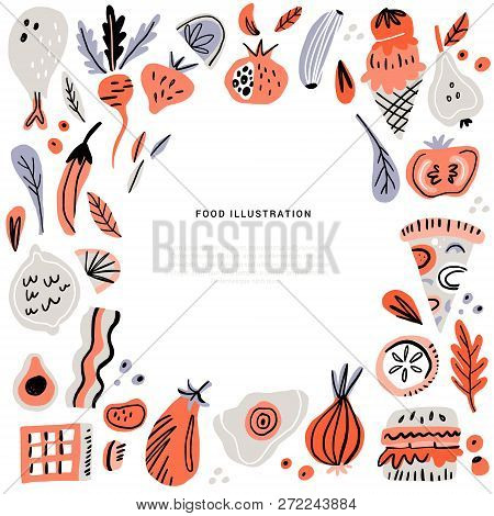 Food Hand Drawn Vector Illustration. Cooking Ingredients With Text Space. Cooking Courses Poster Con