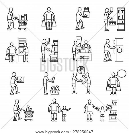 Buyer, Icon Set. Buying Goods, Linear Icons. Line With Editable Stroke. Man In The Market Selects An