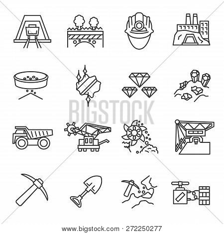 Mining Industry, Icon Set. Mining Operations, Linear Icons. Line With Editable Stroke