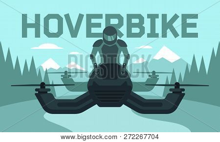 Vector Illustration Of Hover Bike Rider In Riding Suit