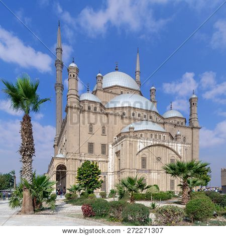 Cairo, Egypt - December 2 2018: The Great Mosque Of Muhammad Ali Pasha (alabaster Mosque), Situated