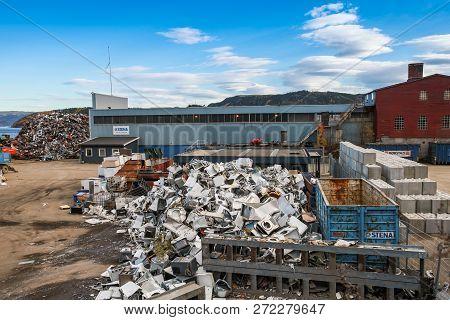 Hommelvik, Norway -  - October 18, 2016: Recycling Plant In Hommelvik, Coastal Village, Norway